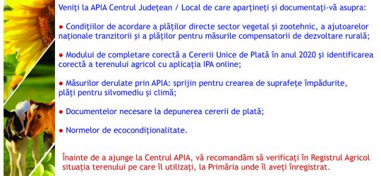 Demararea Campaniei de depunere a Cererilor Unice de Plată; se vor depune la Centrele judeţene/locale APIA, până la data de 15 mai 2020, stiri agricole