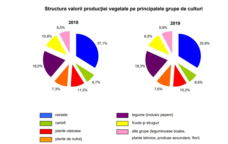 Valoarea producţiei ramurii agricole a scăzut în 2019 cu 3,8% comparativ cu anul precedent, la 89,997 miliarde lei; stiri agricole