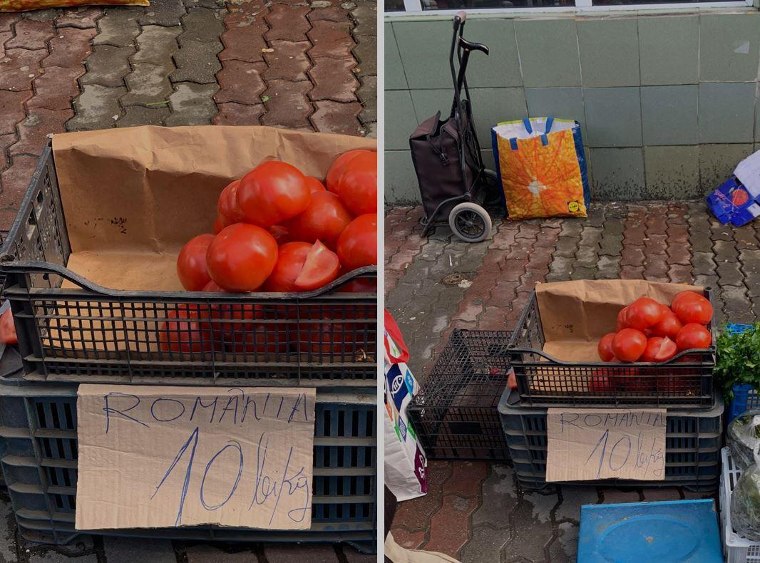 """În piața Zahana din Slatina se vând la greu roșii """"românești"""", la doar 10 lei/kg; Tomatele românești apar pe piață abia peste 3-4 săptămâni; stiri agricole"""