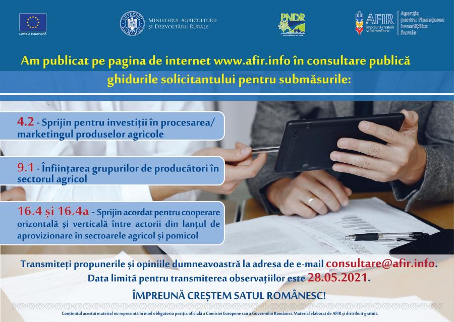 AFIR a publicat in consultare publica Ghidurile solicitantului pentru Submasurile 9.1, 4.2, si 16.4/ 16.4a; Stiri agricole